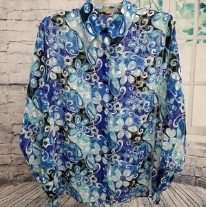 🦋Semi Sheer Floral Satin Blouse in Blues, Size XL